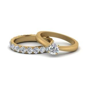 Tapered Round Solitaire Diamond Eternity Wedding Set In 14K Yellow Gold