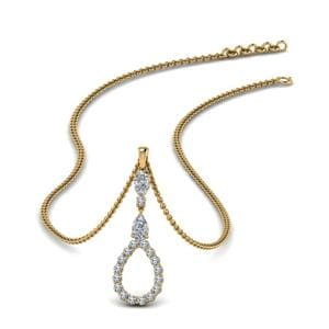 Teardrop Diamond Drop Necklace