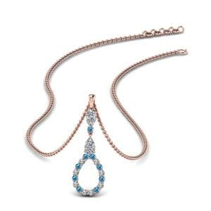 Teardrop Topaz Diamond Pendant