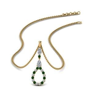 Drop Pendant With Emerald Gemstone