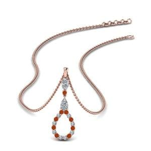 Orange Sapphire Drop Pendant For Women