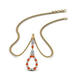 Classic Orange Topaz Teardrop Pendant