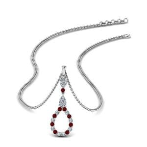Drop Pendant Necklace With Ruby