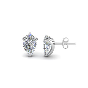 Teardrop Diamond Stud Earring 2 Carat