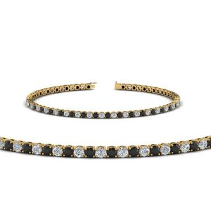 Black Diamond Yellow Gold Tennis Bracelet
