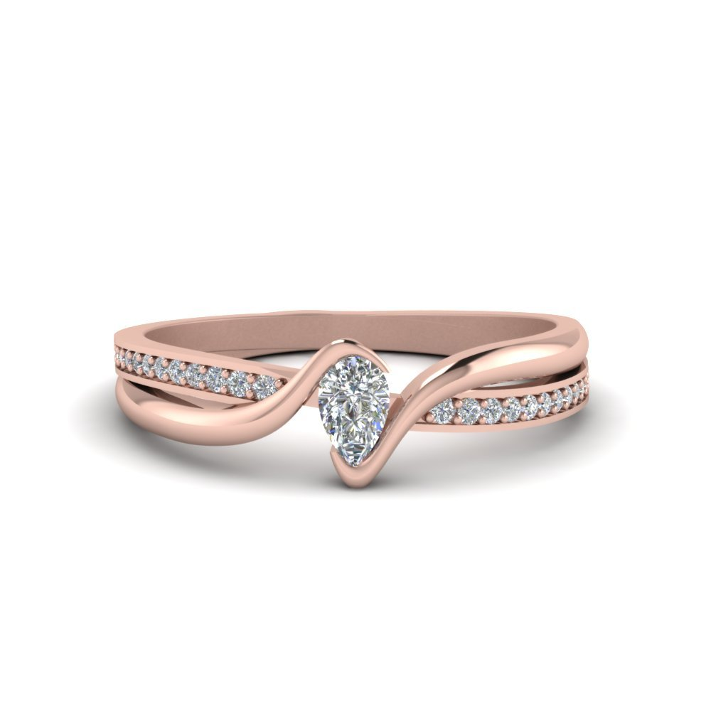Tension Set Pear Shaped Diamond Engagement Ring In 14K Rose Gold