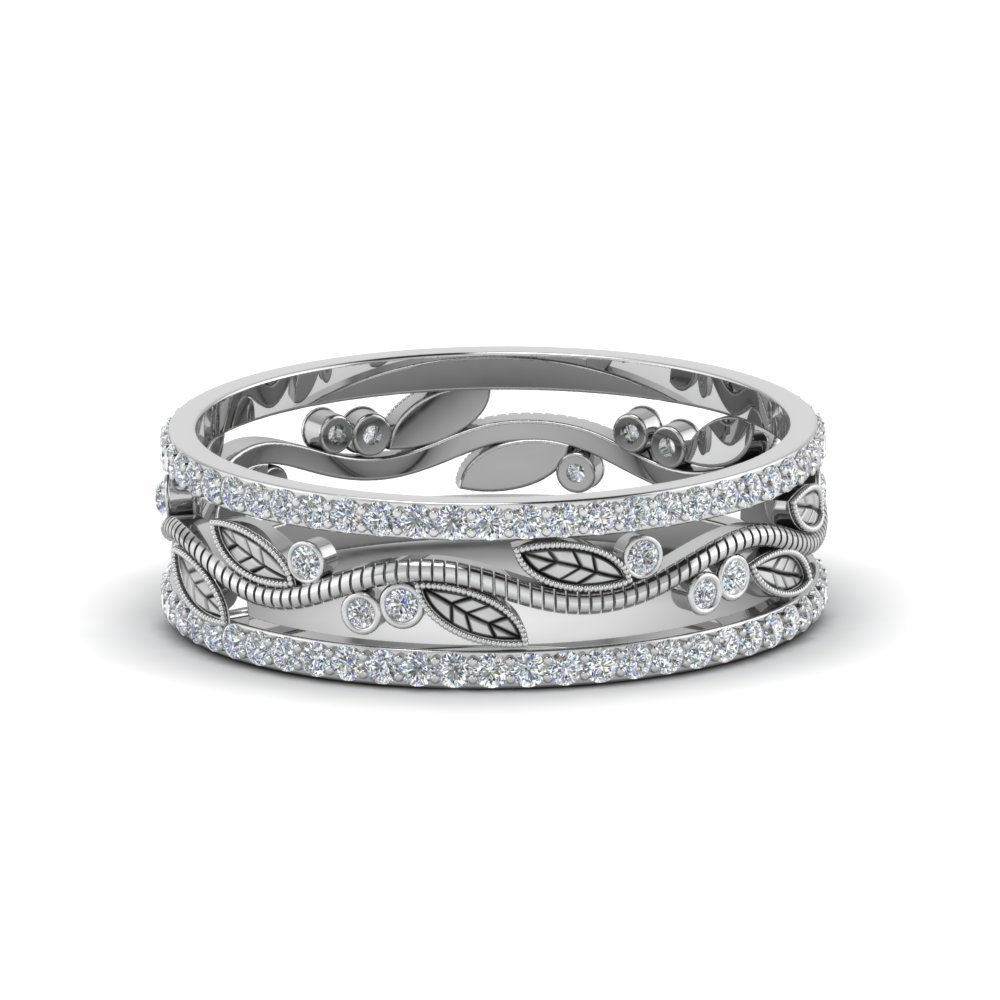 Thick Wedding Band Diamond In 14K White Gold
