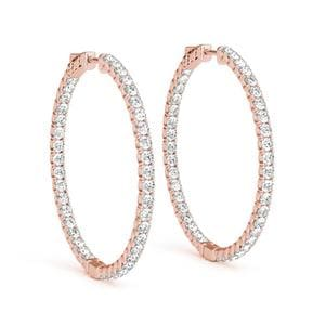 Thin And Out Diamond Hoop Earring