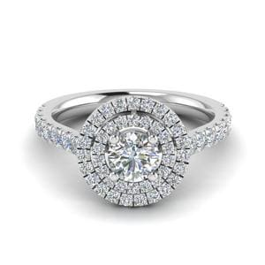 Thin Double Halo Diamond Ring