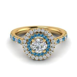 Blue Topaz Thin Band Halo Ring