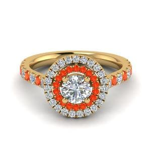 Thin Halo Orange Topaz Ring