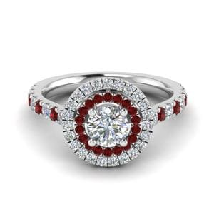Thin Band Double Halo Ruby Ring