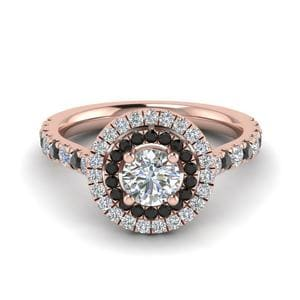 Black Diamond Double Halo Ring