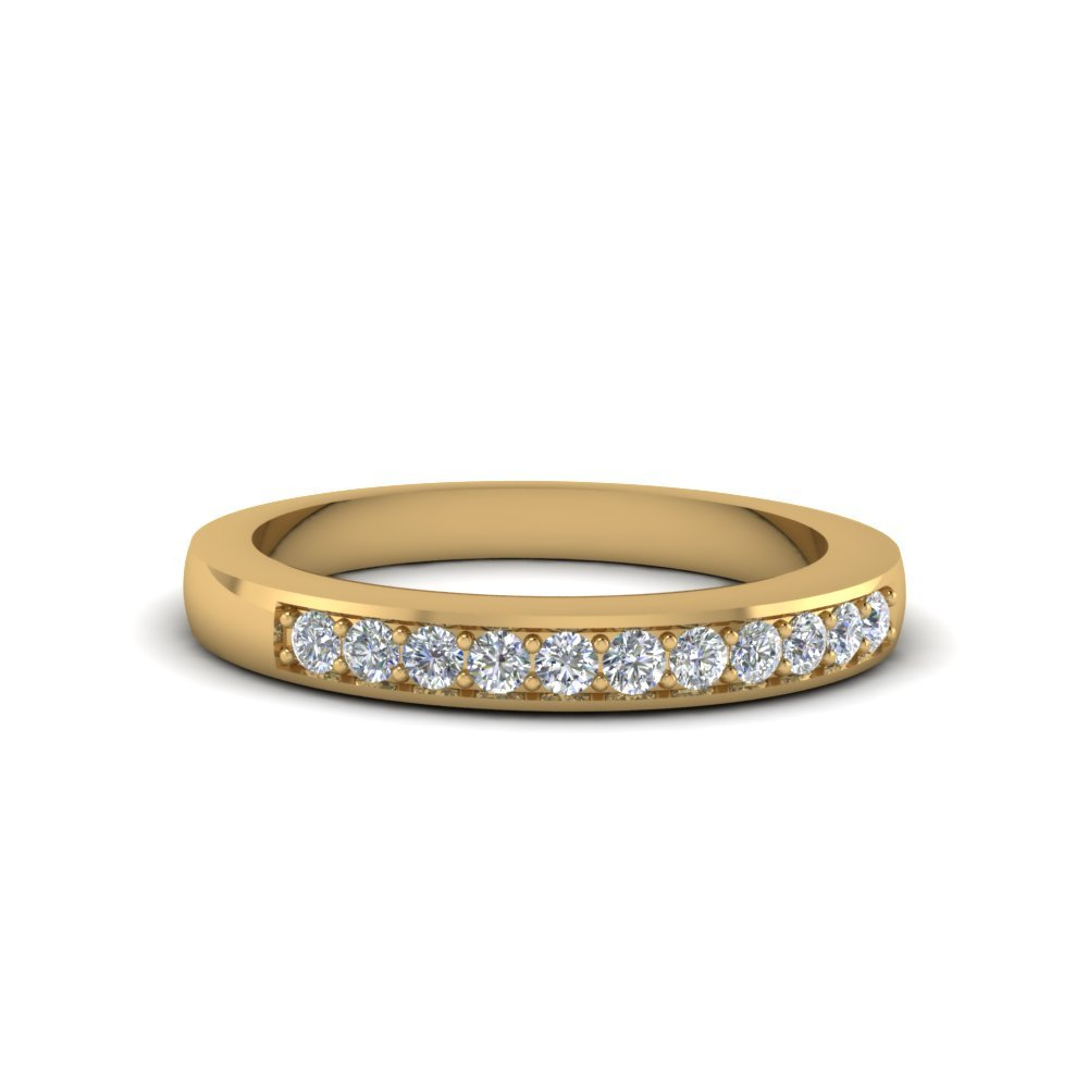 Thin Pave Diamond Wedding Band In 14K Yellow Gold