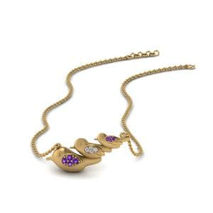 Purple Topaz Bird Necklace