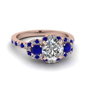 3 Stone Halo Sapphire Ring