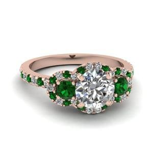Emerald Halo 3 Stone Ring