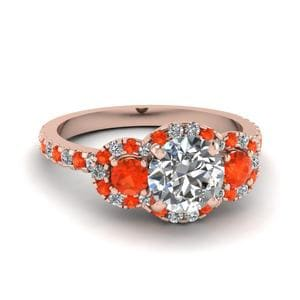 Halo Orange Topaz Ring