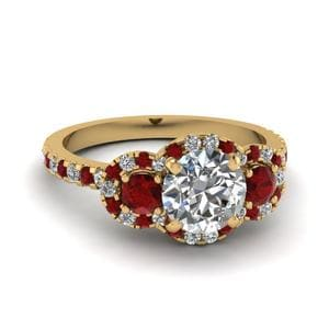 Three Stone Halo Ruby Ring