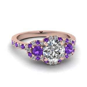 Purple Topaz Halo Ring