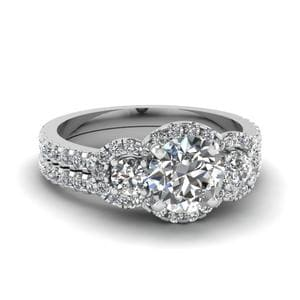 Platinum Trinity Halo Diamond Set