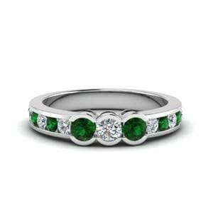 Channel Set Emerald Wedding Band