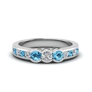 Blue Topaz Channel Set Band