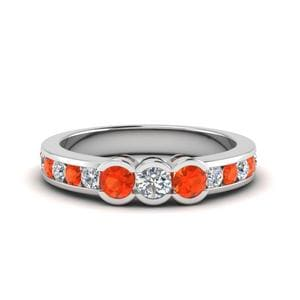 Orange Topaz Wedding Band