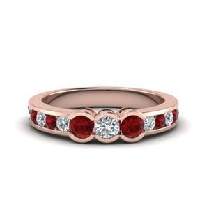 3 Stone Channel Set Ruby Band