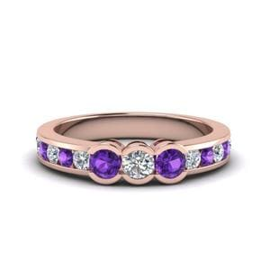 Three Stone Purple Topaz Band