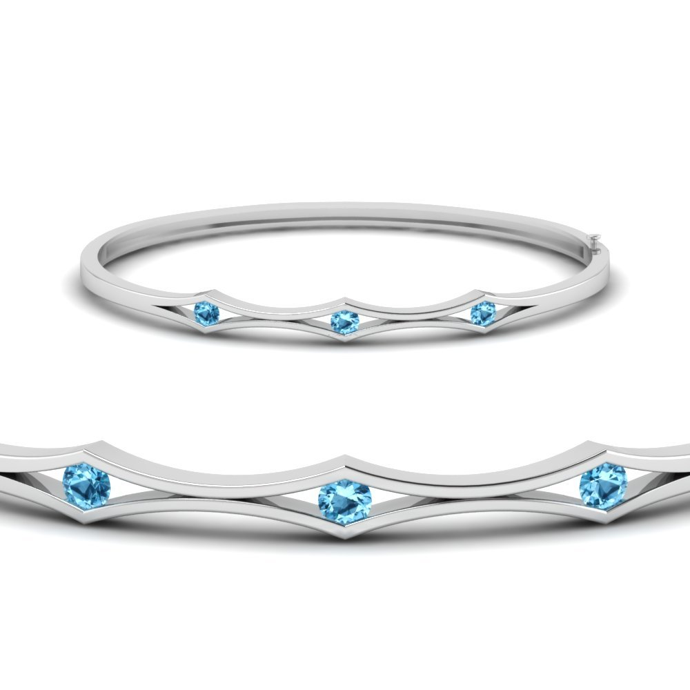 3 Stone Blue Topaz Bracelet Bangle