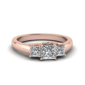 Princess Cut Trellis 3 Stone Diamond Engagement Ring In 14K Rose Gold