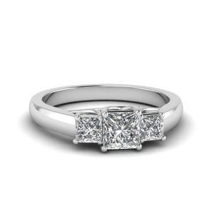 Princess Cut Trellis 3 Stone Diamond Engagement Ring In 14K White Gold