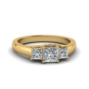 Princess Cut Trellis 3 Stone Diamond Engagement Ring In 14K Yellow Gold