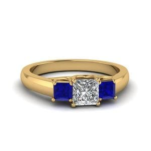 Princess Cut Trellis 3 Stone Diamond Engagement Ring With Sapphire In 14K Yellow Gold