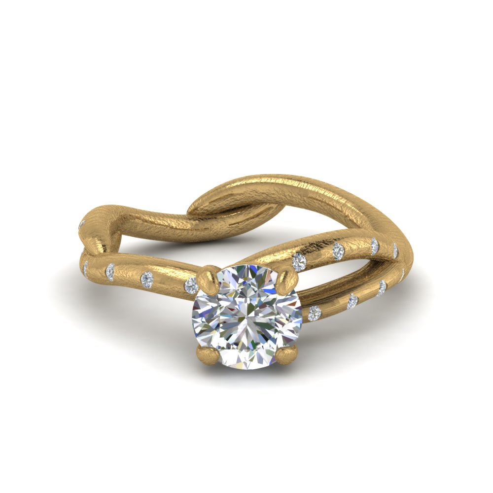 Tree Branch Diamond Engagement Ring In 14K Yellow Gold