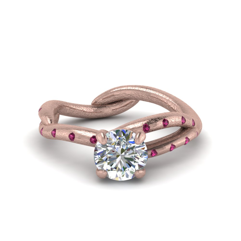 Tree Branch Engagement Ring With Pink Sapphire In 18K Rose Gold