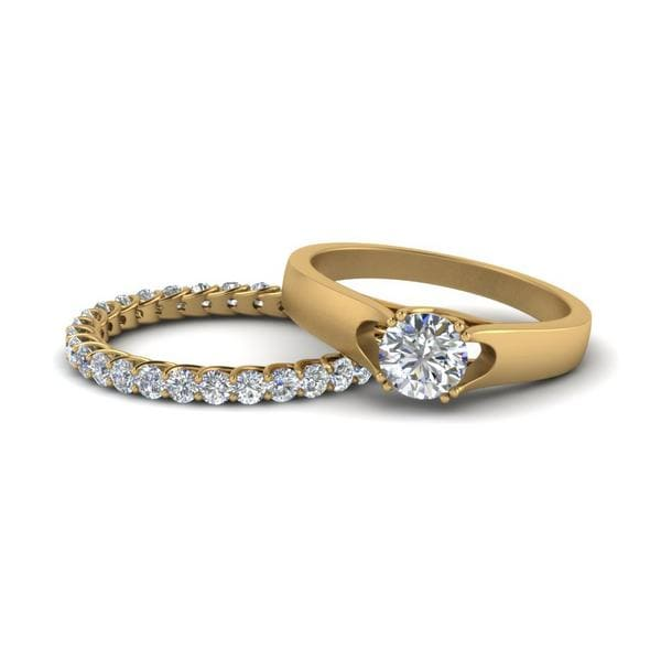 Gold Trellis Wedding Ring Set