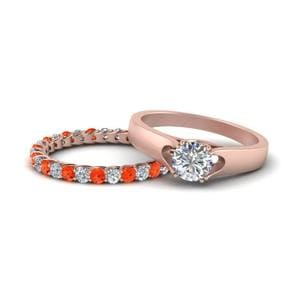Round Ring With Orange Topaz Band