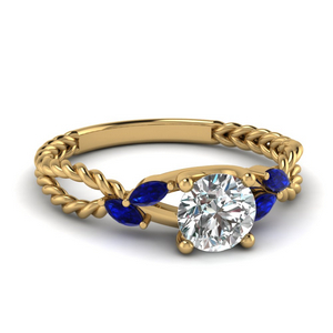 Twisted Rope Design Sapphire Ring