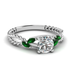 Emerald Split Shoulder Ring