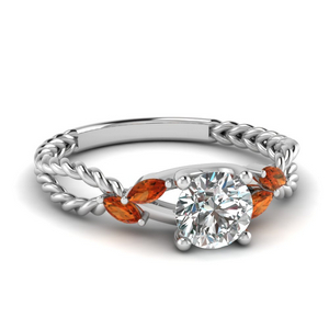 Gemstone Cable Rope Engagement Ring