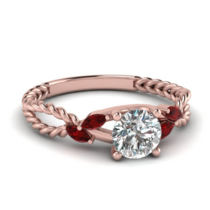 Split Shank Rope Pattern Ruby Ring