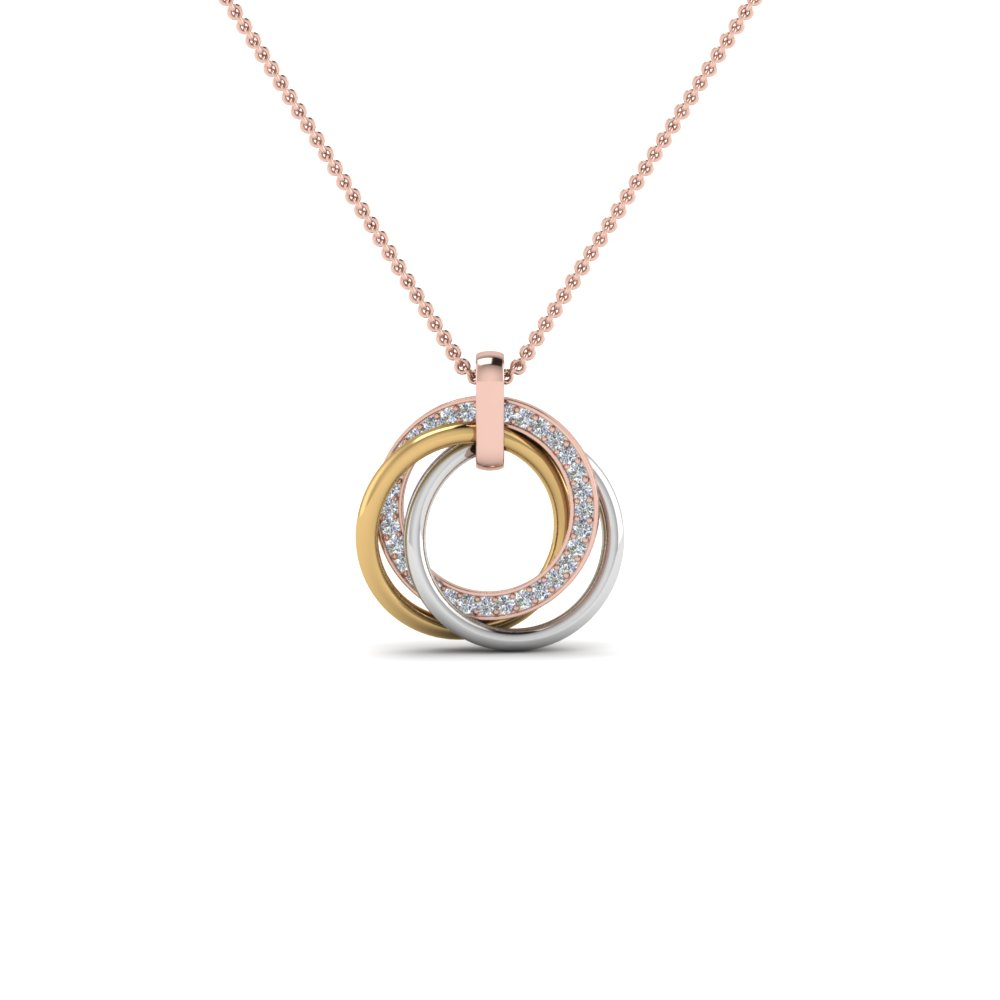 Tri Color Circle mothers Necklace