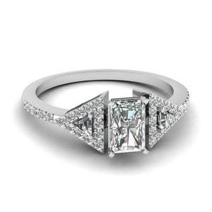 Trillion Side Stone Diamond Radiant Cut Engagement Ring 1 Carat In 18K White Gold