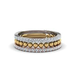 Trio Stacked Diamond Ring With Bead
