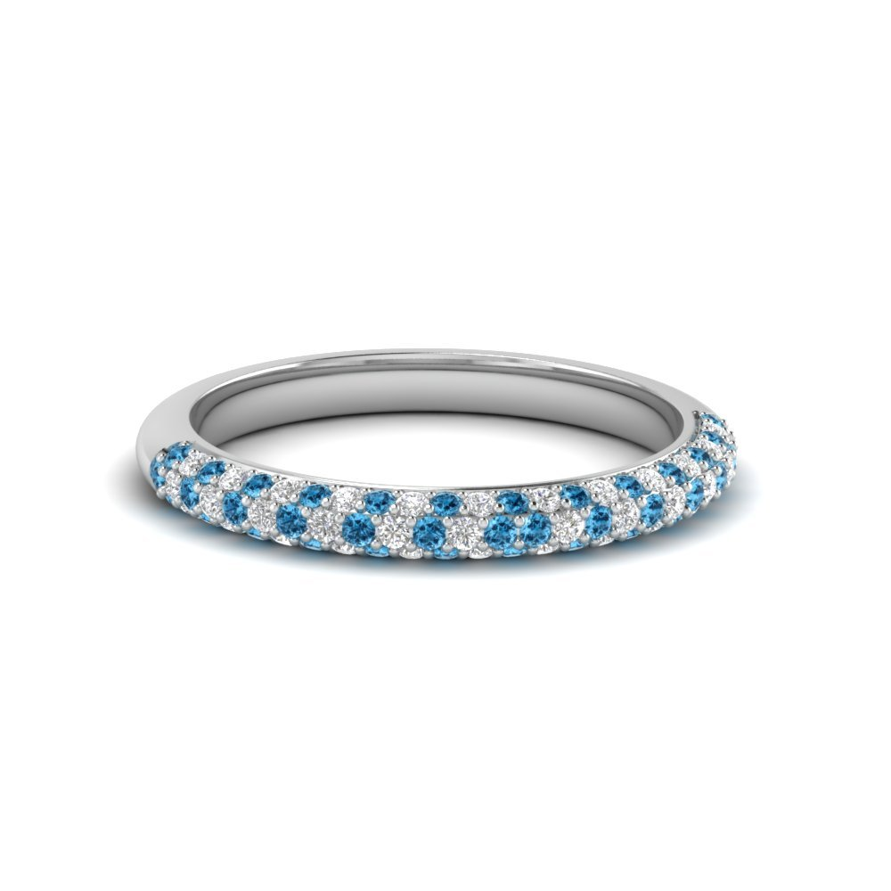 Trio Micropave Diamond Womens Wedding Band With Ice Blue Topaz In 950 Platinum