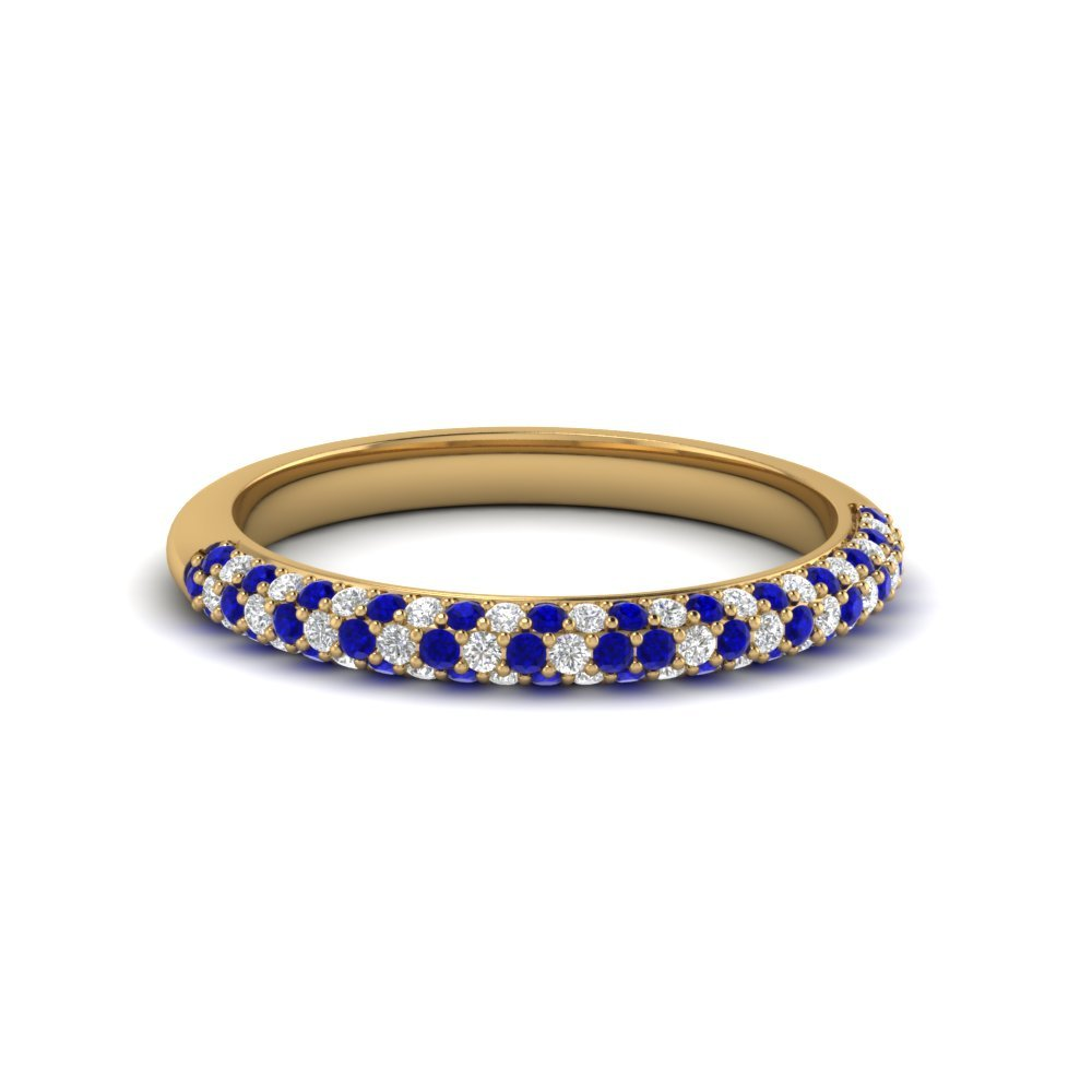 Trio Micropave Diamond Womens Wedding Band With Blue Sapphire In 14K Yellow Gold