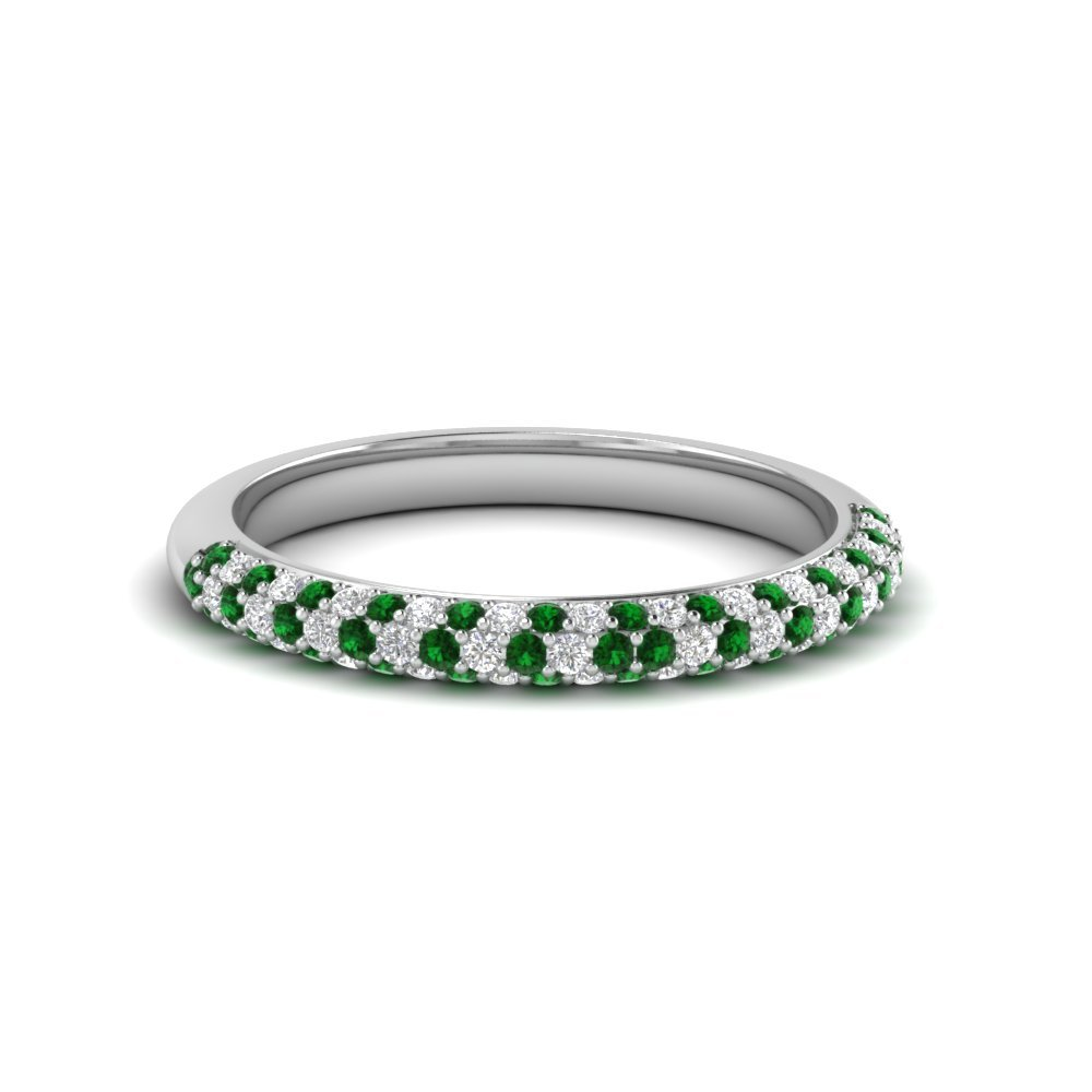 Trio Micropave Diamond Womens Wedding Band With Emerald In 18K White Gold