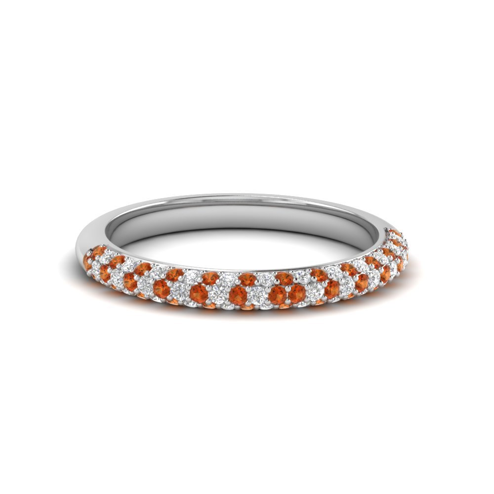 Trio Micropave Diamond Womens Wedding Band With Orange Sapphire In 14K White Gold
